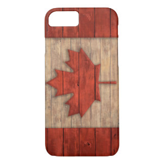Vintage Flag of Canada Distressed Wood Design iPhone 7 Case