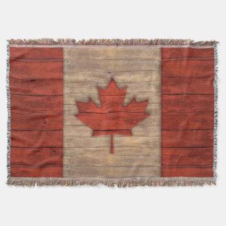 Vintage Flag of Canada Distressed Wood Design Throw Blanket
