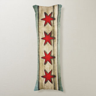 Vintage Flag of Chicago Carved Wood Design Body Pillow