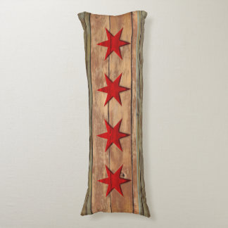 Vintage Flag of Chicago Distressed Wood Look Body Pillow