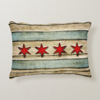 Vintage Flag of Chicago Wood Look Accent Pillow