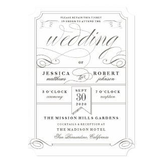 Vintage Flair Ticket Wedding Invitation