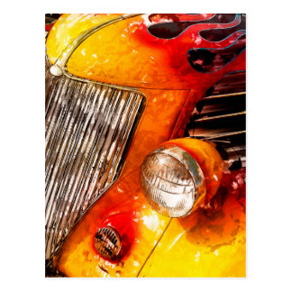 Vintage flame Hot Rod Postcard