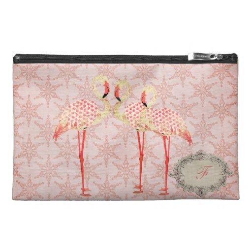 Vintage Flamingo Monogram Travel Accessory Bag