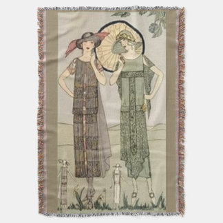 Vintage Flapper Fashion Afghan Throw