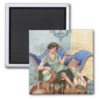 Vintage Flapper Girl in Paris Magnet