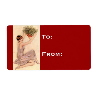 Vintage Flapper Holiday Gift Tag Label