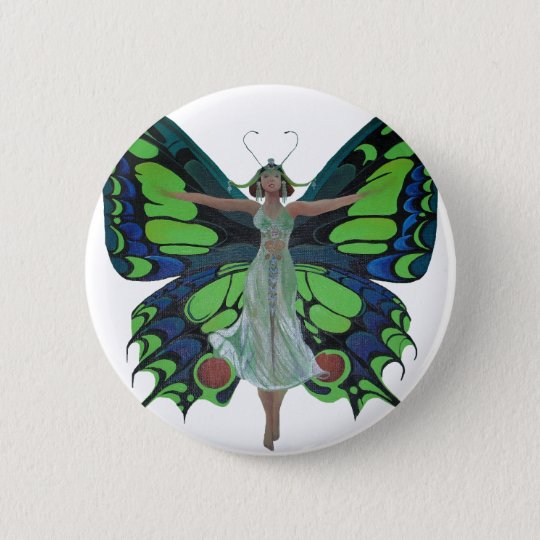 Vintage Flapper With Butterfly Wings Isolated Button