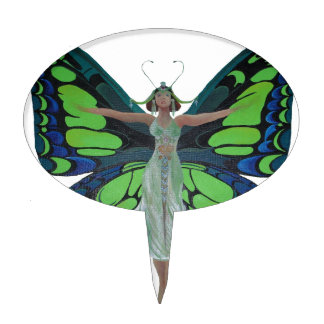 Vintage Flapper With Butterfly Wings Isolated Cake Topper