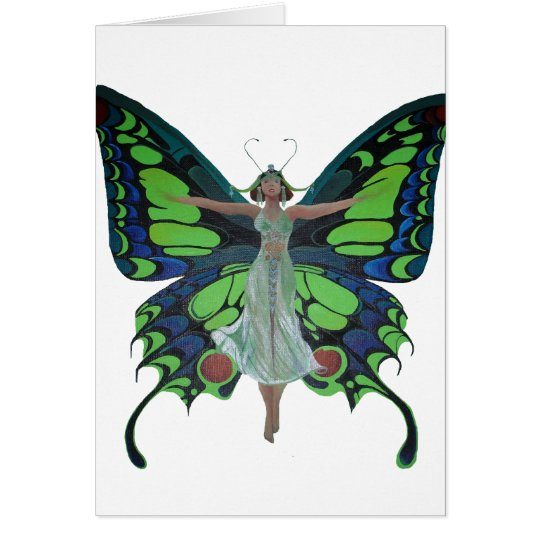 Vintage Flapper With Butterfly Wings Isolated Card