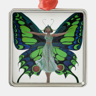 Vintage Flapper With Butterfly Wings Isolated Metal Ornament