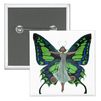 Vintage Flapper With Butterfly Wings Isolated Pinback Button