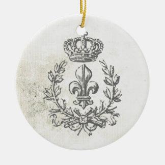 Vintage Fleur de Lis and Crown-ornament Double-Sided Ceramic Round Christmas Ornament