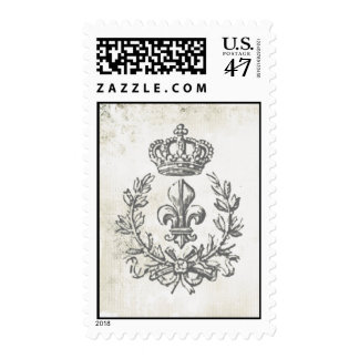 Vintage Fleur de Lis and Crown-postage stamp