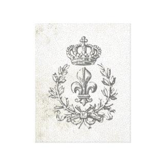 Vintage Fleur de Lis and Crown-stretched canvas Canvas Print