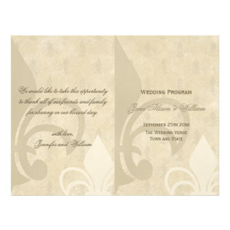 Vintage Fleur de Lis BiFold Wedding Program