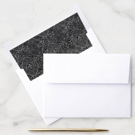 Vintage Fleur de Lis | Black Silver Grunge Damask Envelope Liner