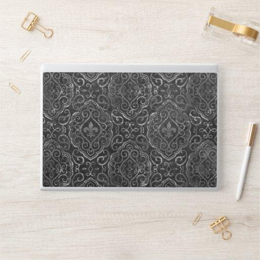 Vintage Fleur de Lis | Black Silver Grunge Damask HP Laptop Skin