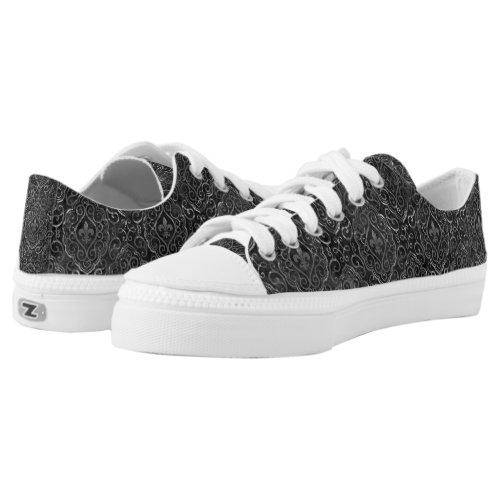 Vintage Fleur de Lis   Black Silver Grunge Damask Low-Top Sneakers