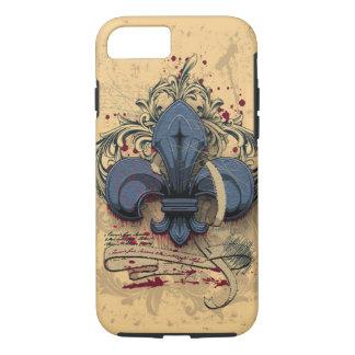 Vintage fleur-de-lis blue metal grunge effects iPhone 7 case