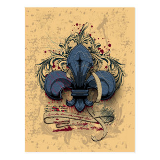 Vintage fleur-de-lis  blue metal grunge effects postcard