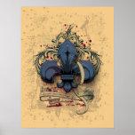 Vintage fleur-de-lis  blue metal grunge effects poster