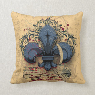 Vintage fleur-de-lis  blue metal grunge effects throw pillow