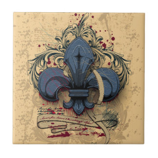 Vintage fleur-de-lis  blue metal grunge effects tile