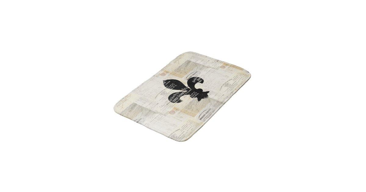 . Vintage Fleur de Lis French Ephemera Bath Rug   Zazzle