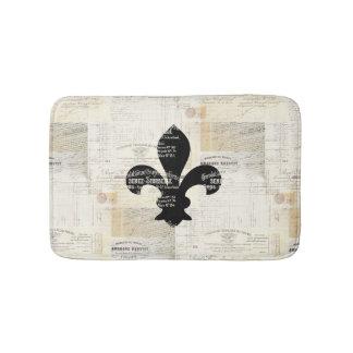 Vintage Fleur de Lis French Ephemera Bath Rug