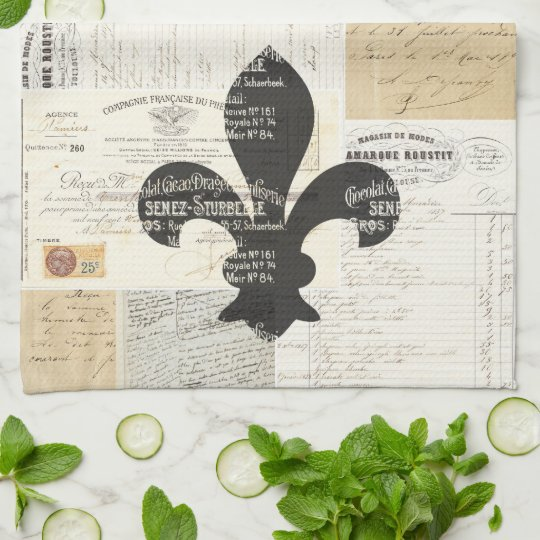 Vintage Fleur de Lis French Ephemera Kitchen Towel