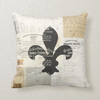 Vintage Fleur de Lis French Ephemera Pillow