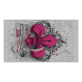 Vintage fleur-de-lis  hot pink metal grunge effect Double-Sided standard business cards (Pack of 100)