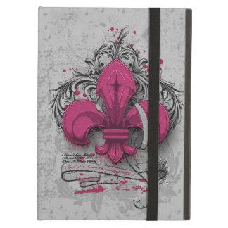 Vintage fleur-de-lis  hot pink metal grunge effect iPad air covers