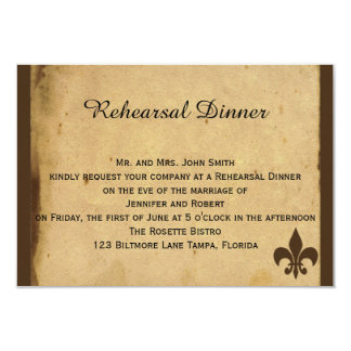 "Vintage Fleur de Lis Love Letter Wedding Rehearsal 3.5"" X 5"" Invitation Card"