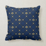"Vintage Fleur de Lis on Dark Navy Blue Pattern Throw Pillow<br><div class=""desc"">A classic,  vintage style pattern made up from a diamond shaped grid against a dark midnight blue background with yellow gold and beige color faux studs and classic french fleur de lis decorative emblems. This is an attractive and elegant design for all.</div>"