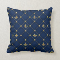 Vintage Fleur de Lis on Dark Navy Blue Pattern Throw Pillow