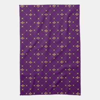Vintage Fleur de Lis on Deep Dark Purple Pattern Hand Towel