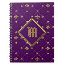 Vintage Fleur de Lis on Deep Dark Purple Pattern Notebook