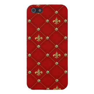 Vintage Fleur de Lis on Deep Rich Red Pattern Case For iPhone SE/5/5s