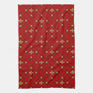 Gold Fleur De Lis Kitchen Hand Towels Zazzle