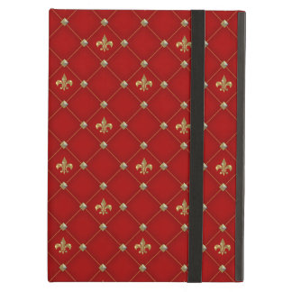 Vintage Fleur de Lis on Deep Rich Red Pattern iPad Air Case