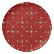 Vintage Fleur de Lis on Deep Rich Red Pattern Melamine Plate