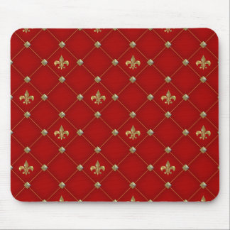 Vintage Fleur de Lis on Deep Rich Red Pattern Mouse Pad