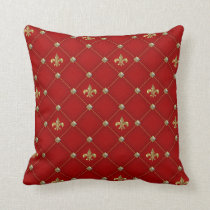 Vintage Fleur de Lis on Deep Rich Red Pattern Throw Pillow