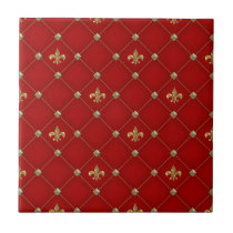 Vintage Fleur de Lis on Deep Rich Red Pattern Tile