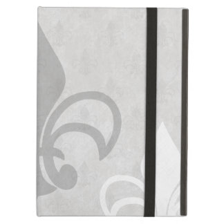 Vintage Fleur de Lis Pattern in Greys Cover For iPad Air