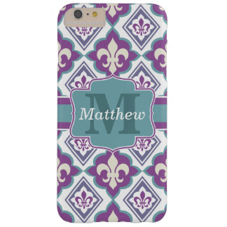 Vintage Fleur de Lis Pattern Name and Monogram Barely There iPhone 6 Plus Case