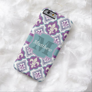 Vintage Fleur de Lis Pattern Name and Monogram Barely There iPhone 6 Case