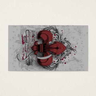 Vintage fleur-de-lis red metal grunge effects business card